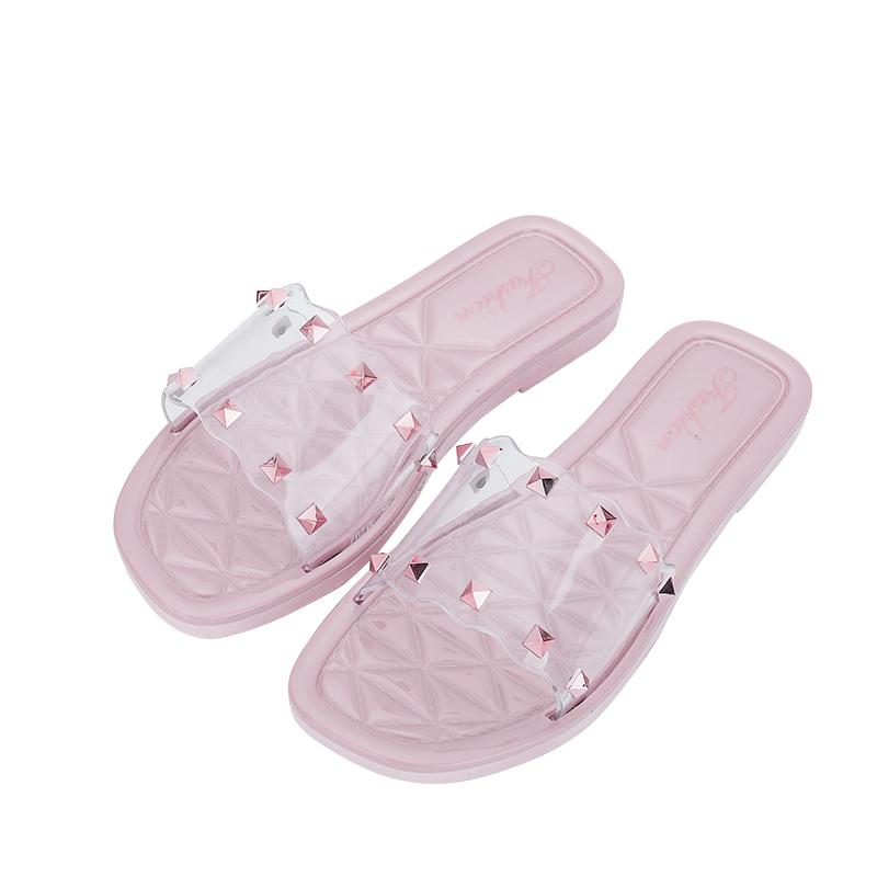 涼拖鞋女外穿時尚外出百搭沙灘夏季網紅2020新款ins氣質鉚釘透明