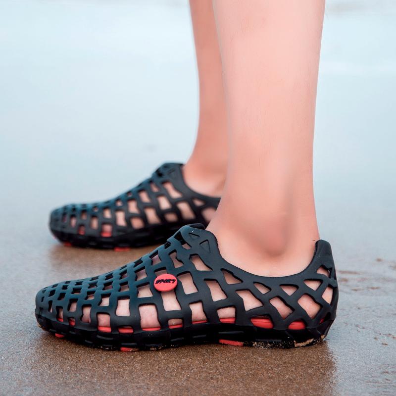 夏季拖鞋潮流男防滑韩版男士凉拖鸟巢洞洞鞋沙滩透气凉鞋男懒人鞋