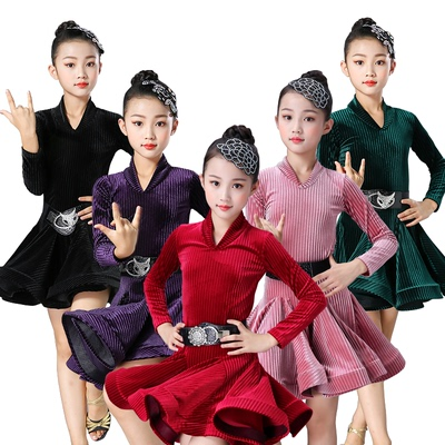 Children's Latin dance clothing girls' one piece dance practice clothes long sleeve children's Latin dance skirt performance clothes