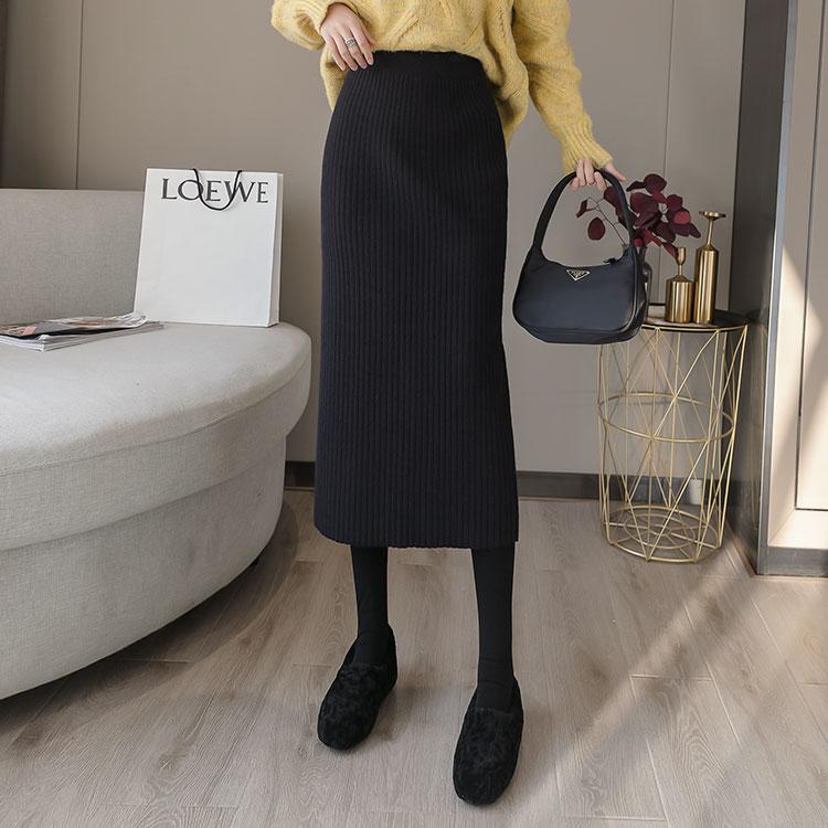半身加厚针织直筒包臀显瘦外穿长款秋冬裙高腰显瘦不开叉一步裙女