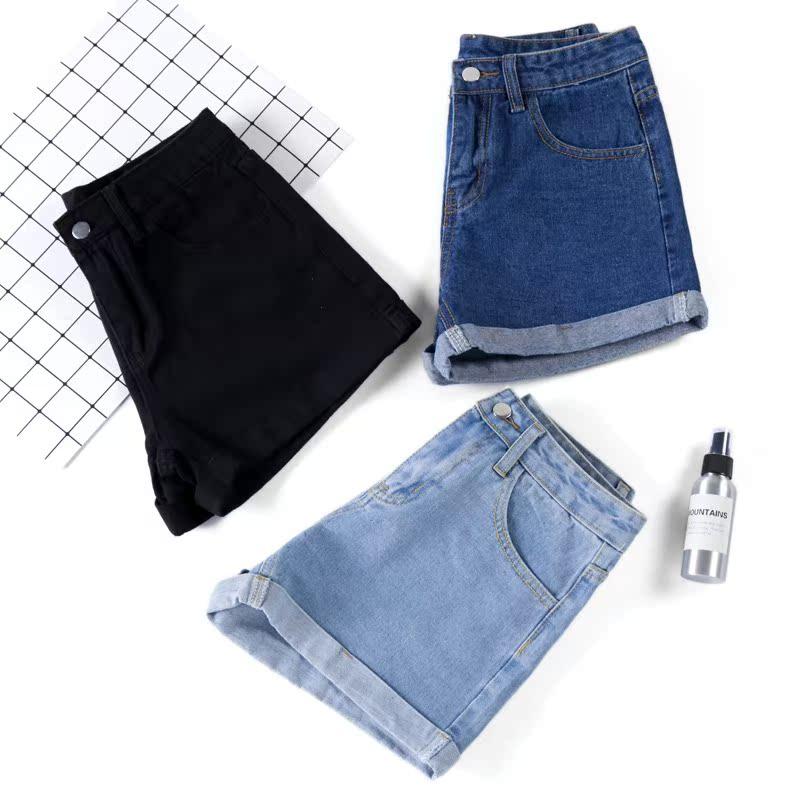 喇叭街拍宽松牛仔大黑色短裤毛边破洞布料裤裙女高腰潮ins裙子光