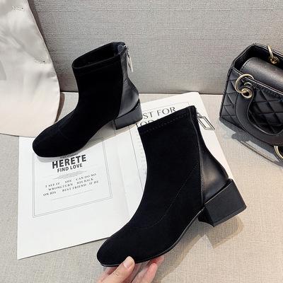 网红瘦瘦短靴女马丁靴2019冬季新款粗跟后拉链短筒靴子女百搭女鞋