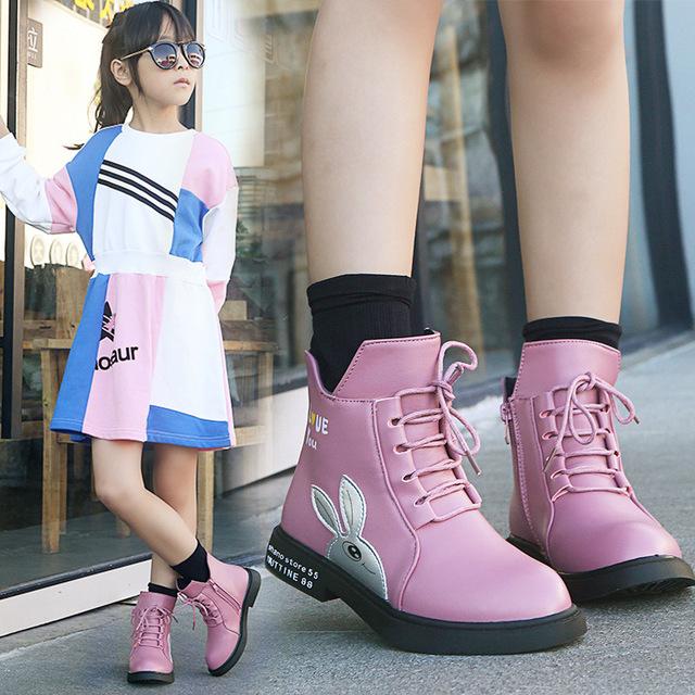 小孩皮鞋3秋冬a小孩马丁靴5儿童靴子7女童穿的4-13岁6女孩子秋鞋十