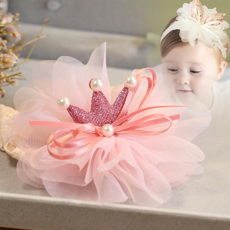 嬰幼兒頭飾蕾絲發箍發帶皇冠兒童小女孩發飾女寶寶夏季可愛蝴蝶結