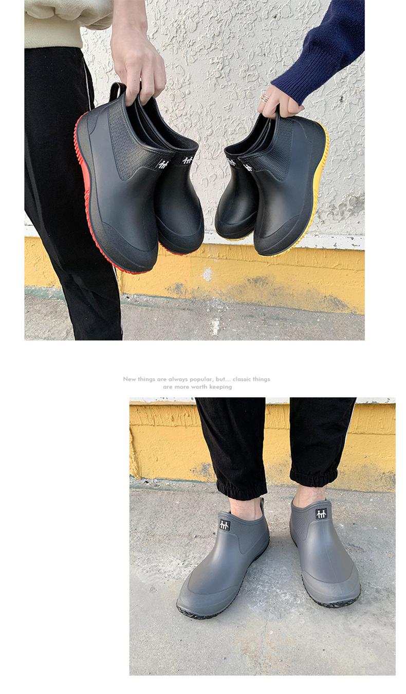 冬季雨鞋女短筒雨靴保暖加绒防水鞋男水靴低帮防滑厨房买菜钓鱼鞋详细照片