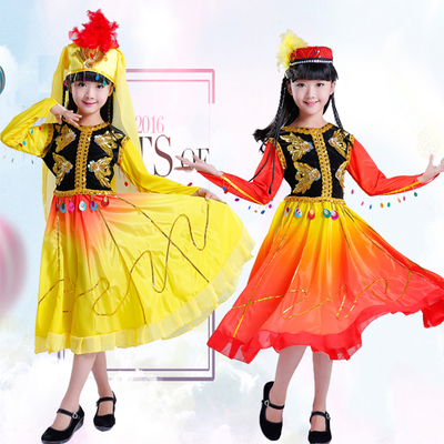 Girls Folk Dance Dress Children's dance performance clothing minority performance costumes