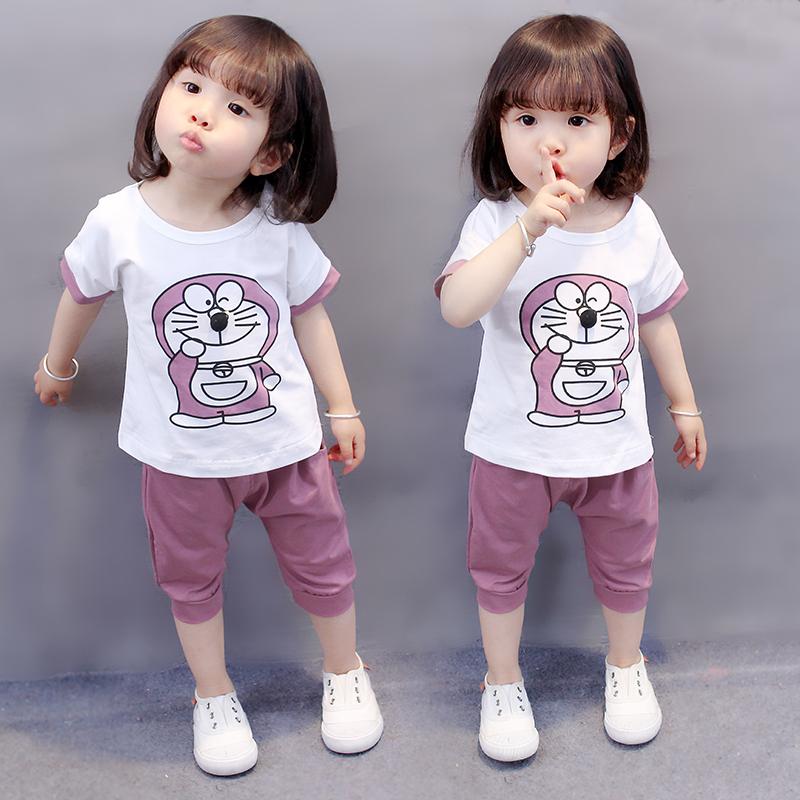 女宝宝夏装洋气套装2019新款韩版1-3-5岁4小女孩短袖两件套女童装35包邮