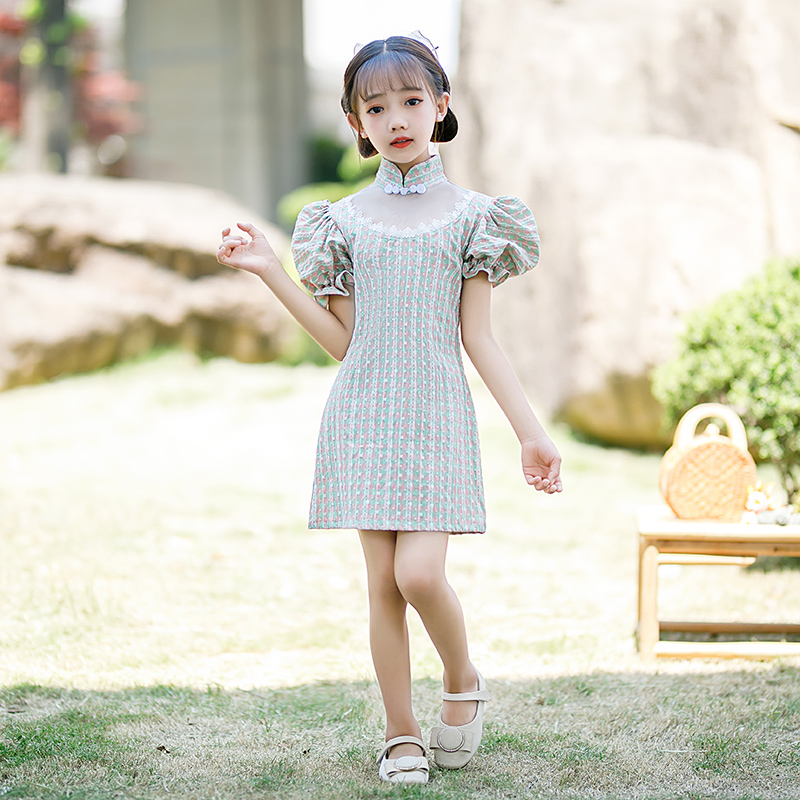 Taobao 2021 Girls' cheongsam summer Chinese style improved 2021 new Han style bubble sleeves