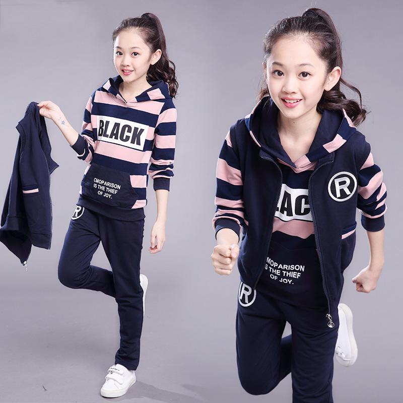 女童秋冬装套装2019年新款大童装小女孩儿童网红洋气运动三件套潮