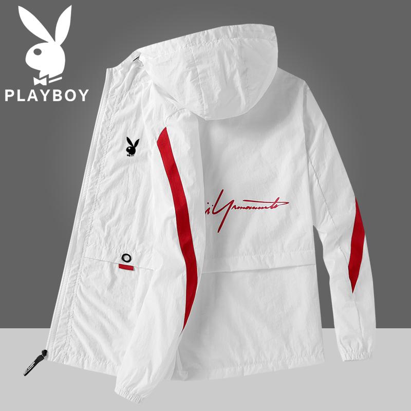 Playboy mùa hè quần áo da nam bình thường chống nắng quần áo câu cá áo khoác áo khoác siêu mỏng băng lụa trùm đầu - Cao bồi