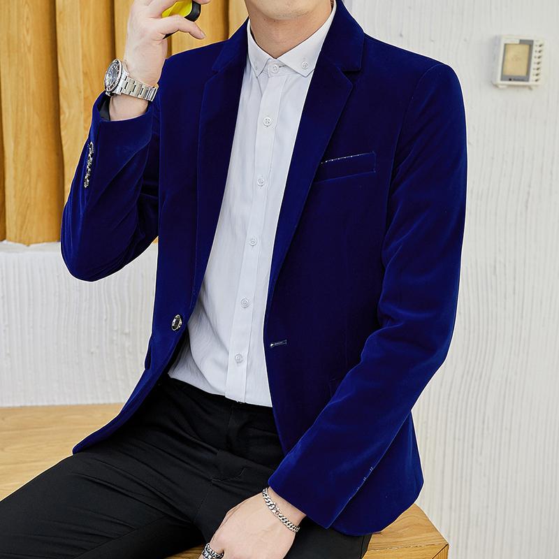 新款灯芯绒小西装男韩版外套修身休闲西服