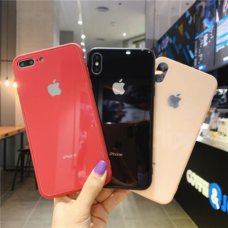 简约纯色iPhoneXR手机壳XSMax男女适用苹果8Plus玻璃软壳全包边7P保护套SE硅胶八七网红新款情侣防摔潮ins
