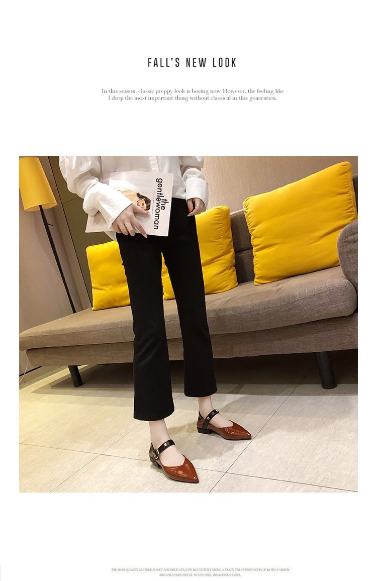 Autumn single-shoe women's 2020 new low-heeled flat-soled shoes women's one-word buckle with shallow-mouthed pointed women's shoes lacquered leather shoes 46 Online shopping Bangladesh