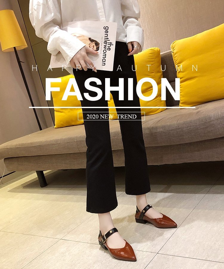 Autumn single-shoe women's 2020 new low-heeled flat-soled shoes women's one-word buckle with shallow-mouthed pointed women's shoes lacquered leather shoes 40 Online shopping Bangladesh