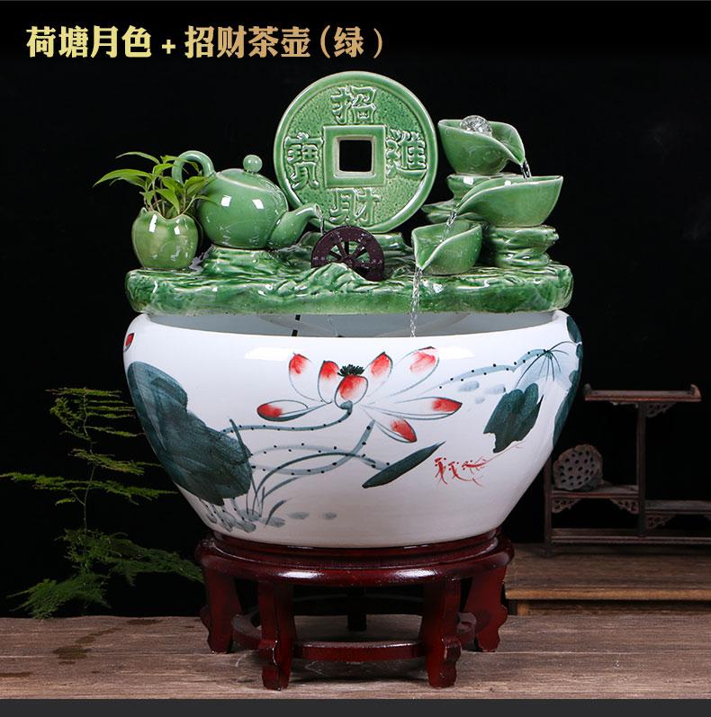 Ceramic aquarium sitting room ground loop water fish tank large office furnishing articles balcony garden lotus basin