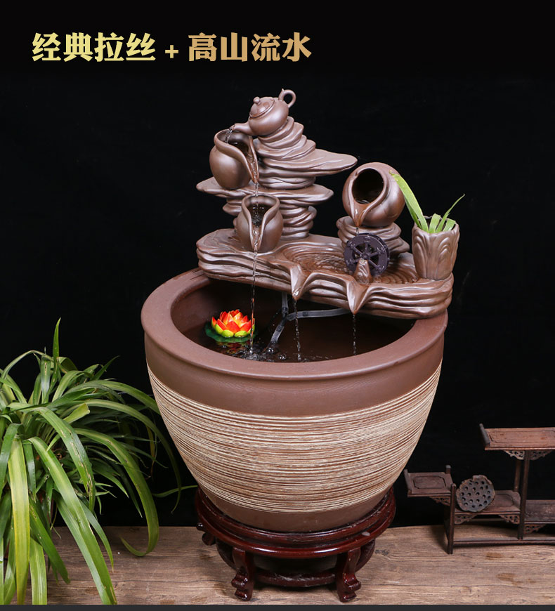 Jingdezhen ceramic aquarium large circulation water fountain creative humidifier furnishing articles sitting room adornment