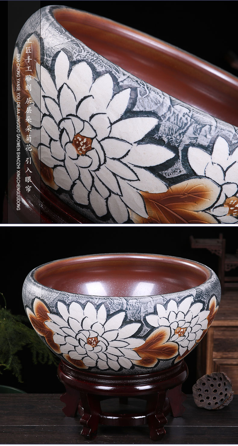 High temperature ceramic cylinder lotus carving a goldfish bowl leaf lotus birdbath household tortoise cylinder contracted decoration of home stay facility