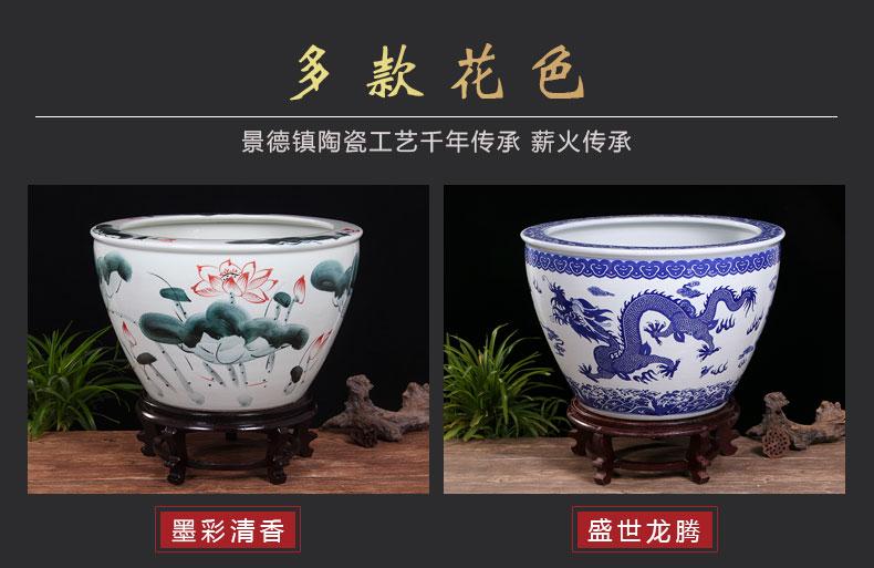 Jingdezhen ceramic basin tortoise cylinder lotus fish tank water lily bowl lotus large penjing garden balcony cylinder