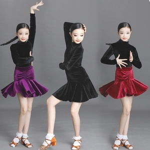 Girls Latin Dance Dresses Children Latin Dance Costume training suit long sleeve girls Latin dance skirt children Latin competition performance dress