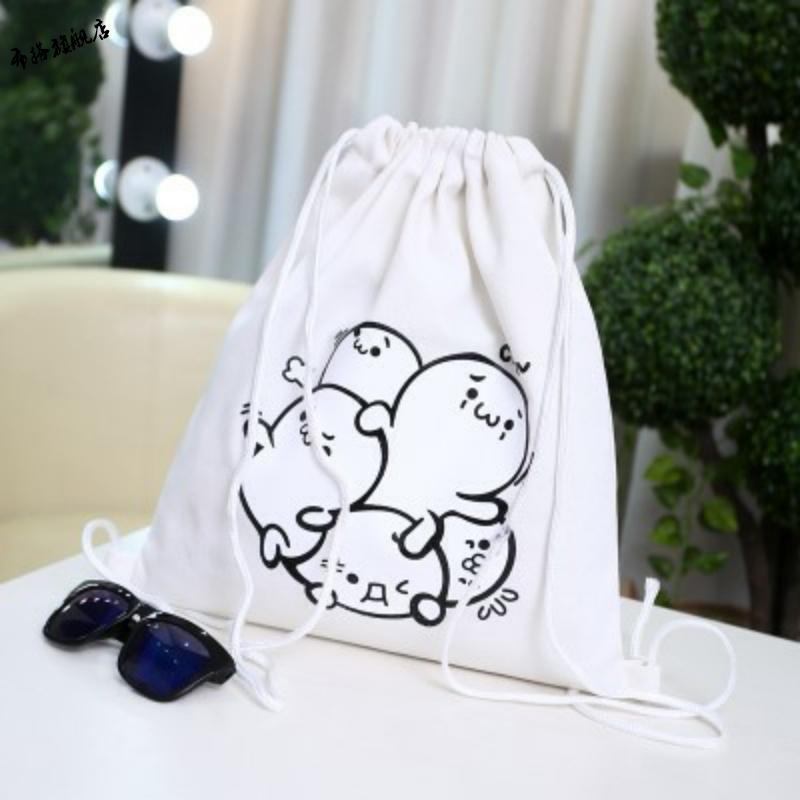 E-mail travel sports women and men canvas zipper bags solid color beam DrawString bag backpack bag bag