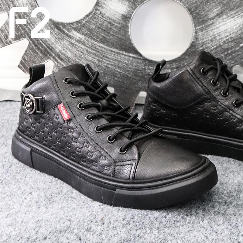 F2潮牌皮鞋黑色休闲鞋欧洲站商务牛皮头层鞋子套脚鞋男鞋真皮专柜