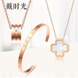 戴时光致美钻石简约吊坠双圈项链搭配玫瑰金彩金色套链细链子女友