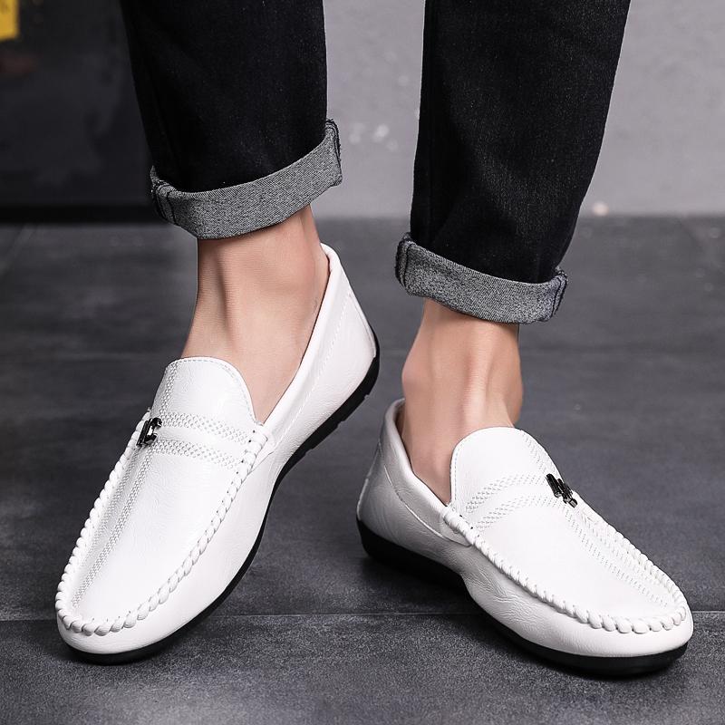 wOGQ夏季新款豆豆鞋男驾车鞋一脚蹬男小皮鞋休闲透气轻便套脚鞋Q