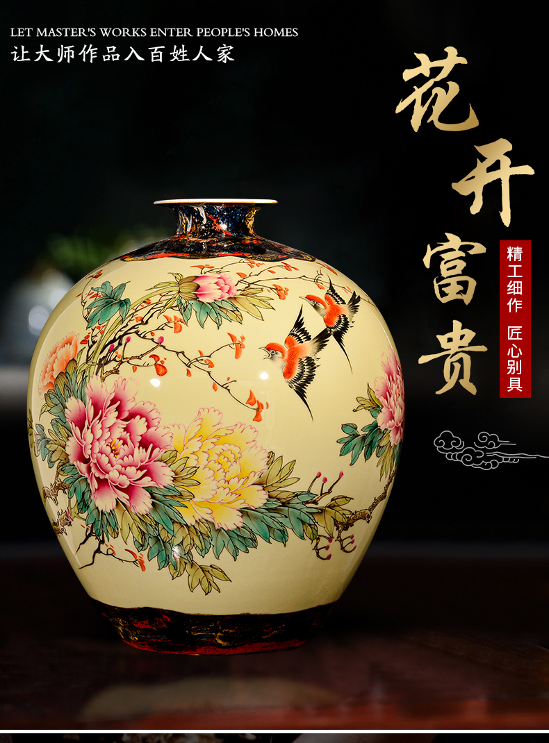 Jingdezhen chinaware big vase hand - made peony flower arranging Chinese style living room TV cabinet decoration handicraft furnishing articles