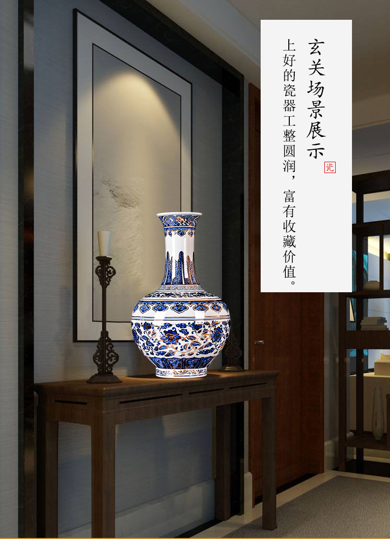Jingdezhen ceramic hand - made the see colour blue and white porcelain vase branch lotus flower arranging Chinese sitting room adornment is placed a gift