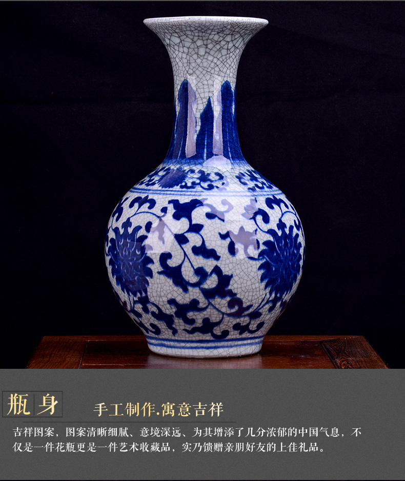 Antique Chinese jingdezhen ceramics vase on classical household living room TV ark, of blue and white porcelain crafts