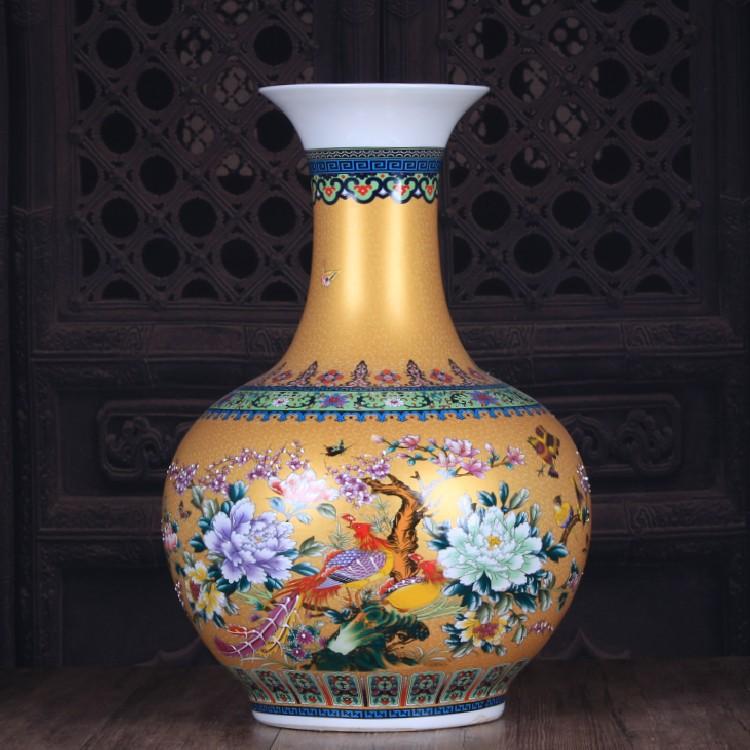 Jingdezhen ceramic vase on the glaze color golden large bottles of classical retro ceramic decoration large furnishing articles