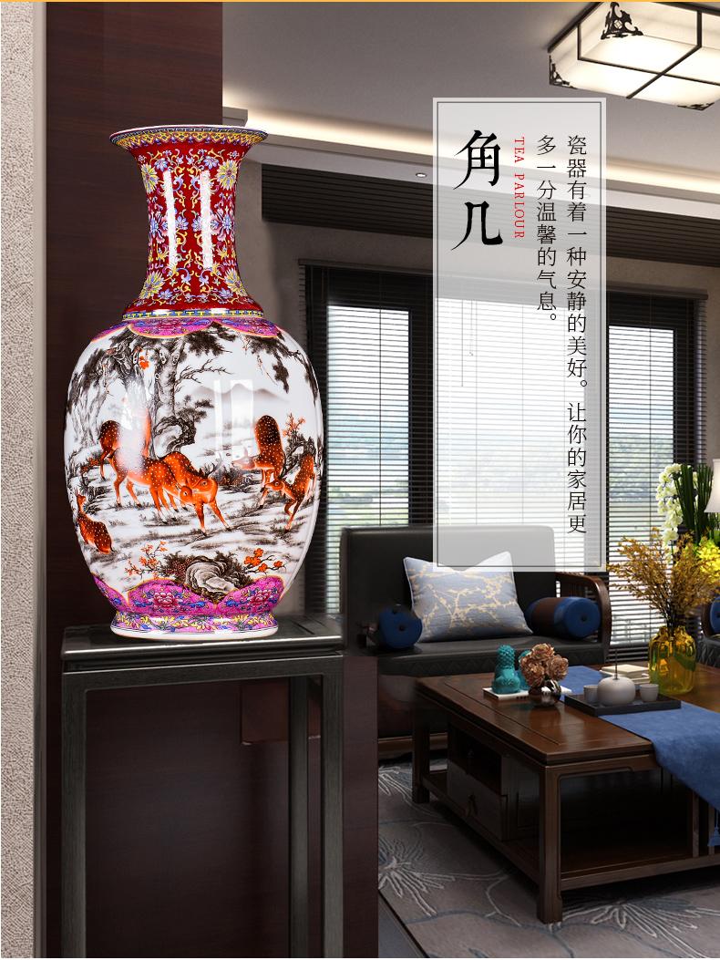 景德镇陶瓷仿古童子珐琅彩花瓶插花家居装饰电视柜客厅工艺品摆件