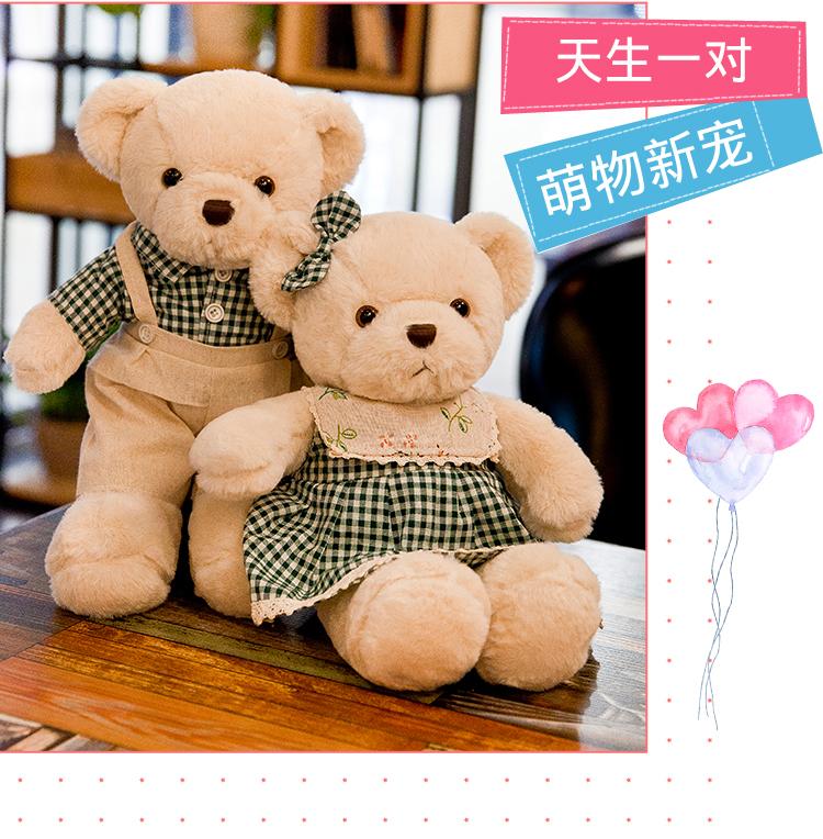泰迪熊公仔情侣一对女孩结婚新婚礼物压床娃娃娃娃玩偶抱抱熊毛绒玩具详细照片