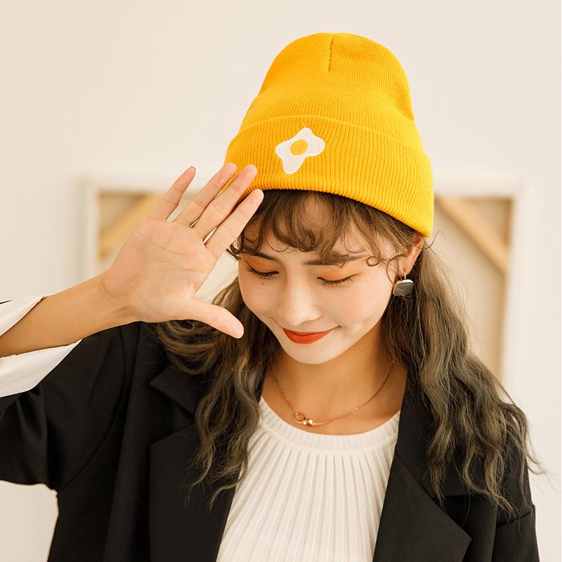 韩版ins刺绣牛油果针织毛线帽子