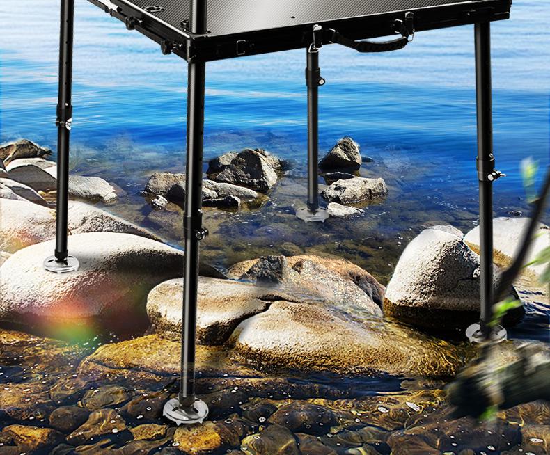 海锐新款超轻碳素钓臺碳纤维多功能钓鱼可摺迭深水大钓臺详细照片