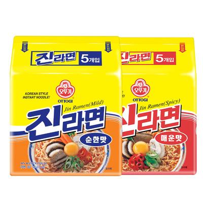 韩国不倒翁进口金拉面原味辣味夜宵速食拌面韩式泡面方便面5袋装