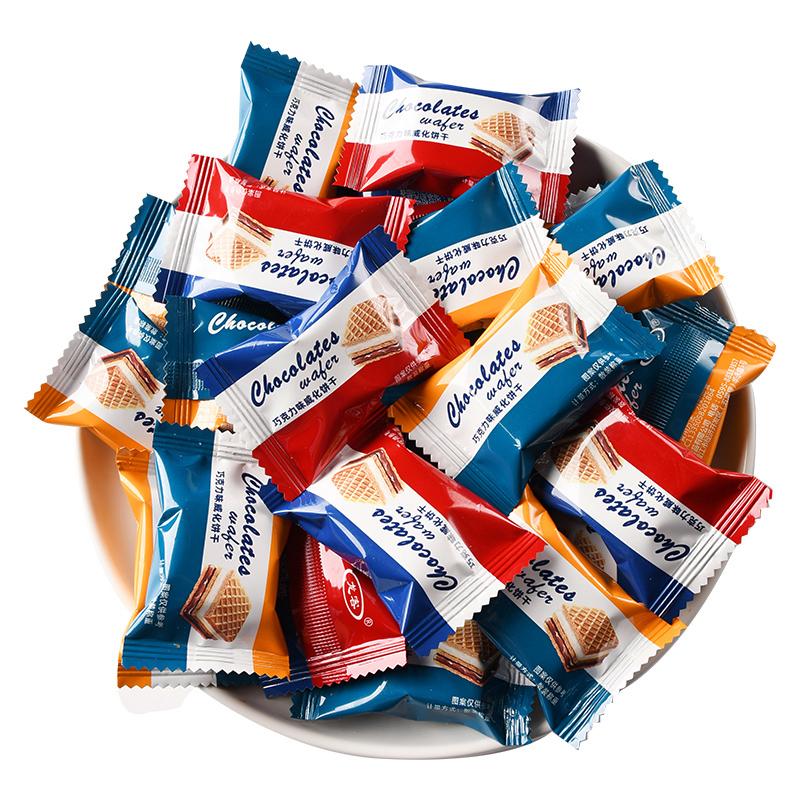 龙客巧克力味威化夹心充饥饼干独立包装网红儿童休闲零食小吃批发
