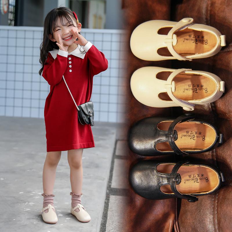 女童公主鞋2020年新款时尚软底儿童黑皮鞋演出鞋小女孩豆豆单鞋春