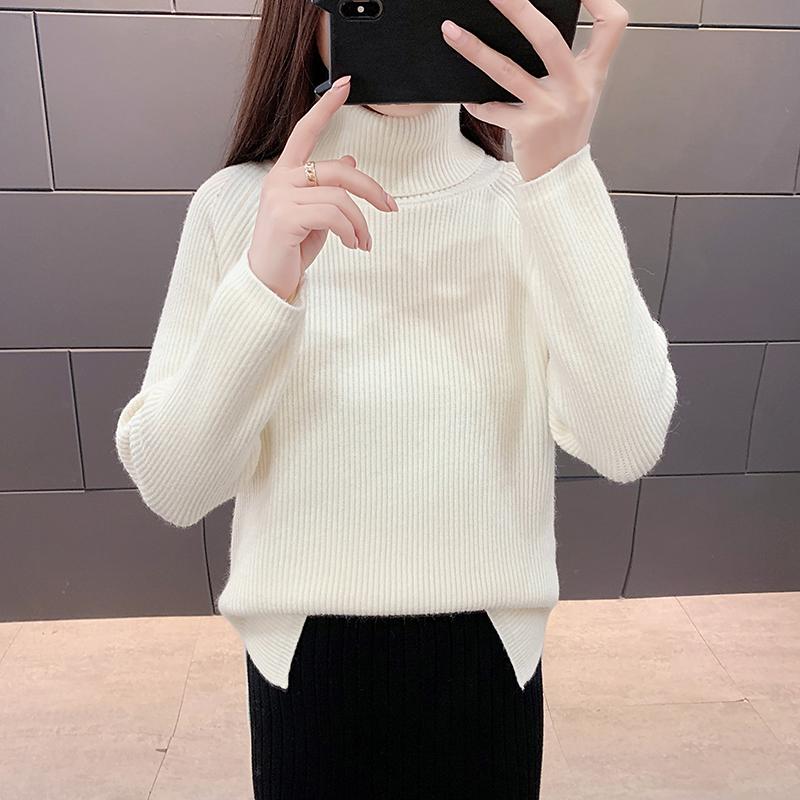 纯色高领毛衣套头宽松慵懒针织衫