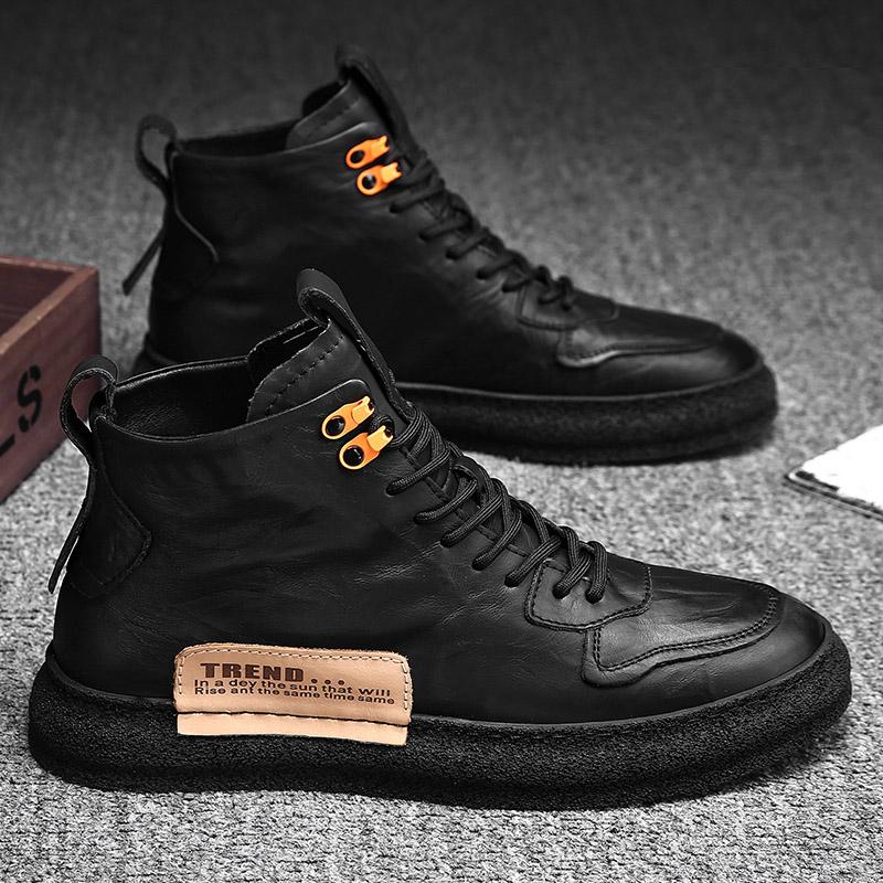 男鞋冬季高』帮皮鞋保暖棉鞋男士冬鞋加绒运动韩版潮流男生百搭板鞋