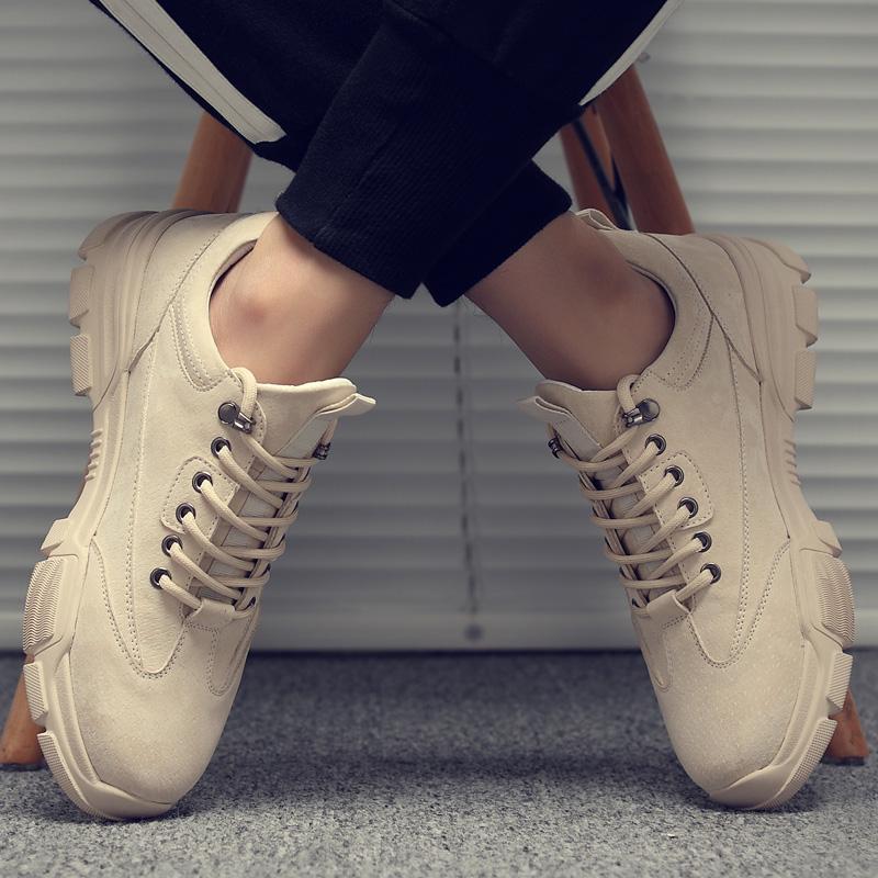 秋季板鞋子男低帮增高男鞋工装冬季棉靴英伦马丁鞋运动休闲短靴男