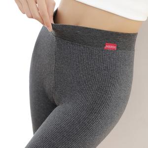 打底裤女外穿春秋款薄款纯棉高腰灰色竖条纹2021新款冬季加厚加绒