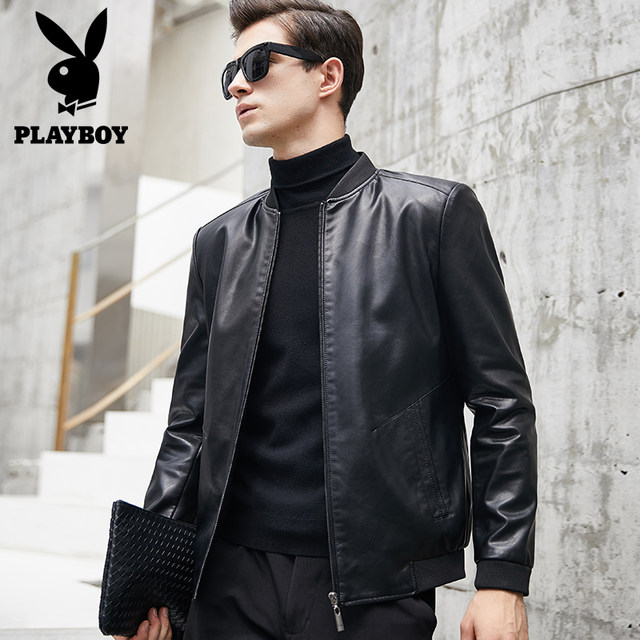 Playboy men's leather clothing autumn and winter slim fit plus velvet Korean thick leather jacket jacket men's motorcycle clothing tide