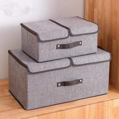 收纳箱布艺整理箱双盖储物箱子大号可折叠内衣袜玩具书收纳盒宿舍