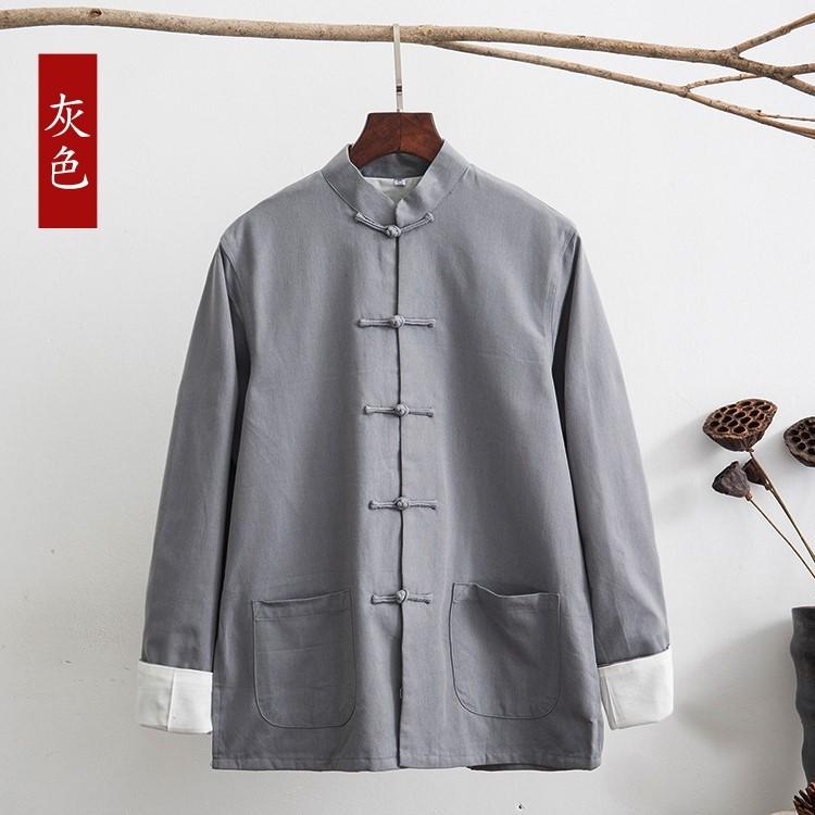 Quần áo cotton nam Trung Quốc Tang phù hợp với áo khoác dài tay Quần áo Trung Quốc mùa xuân và mùa thu denim cũ Áo choàng nam Hanfu quần áo lay - Trang phục dân tộc