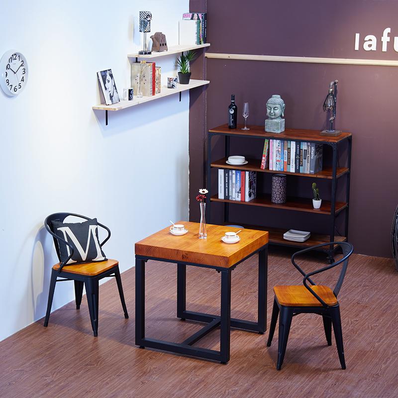 Căn hộ nhỏ bằng gỗ rắn bàn khách sạn bàn ghế nhà hàng phong cách công nghiệp đồ nội thất kiểu Mỹ Bàn ăn vuông và ghế kết hợp - Nội thất khách sạn