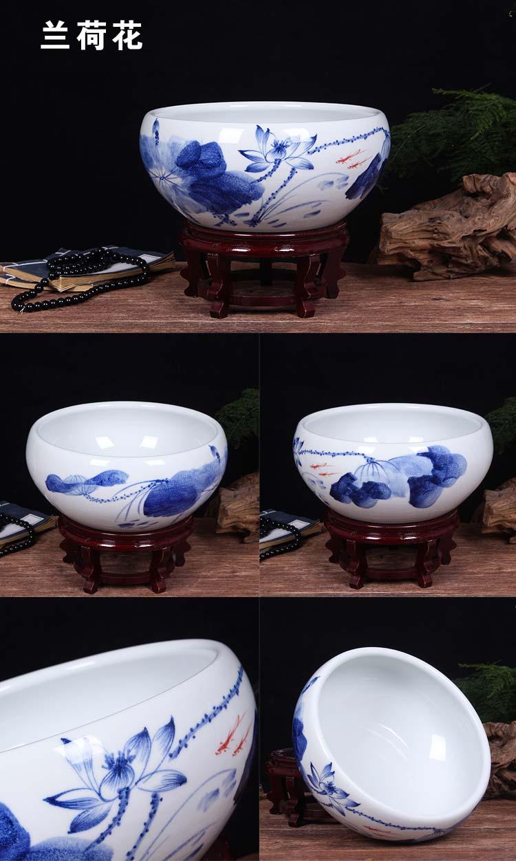 Jingdezhen ceramic goldfish turtle cylinder restoring ancient water lily basin large porcelain bowl lotus refers to hydroponic porcelain jar