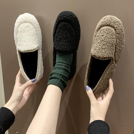 两爱毛毛鞋女秋冬季2019新款平底ins外穿加绒豆豆鞋一体懒人鞋