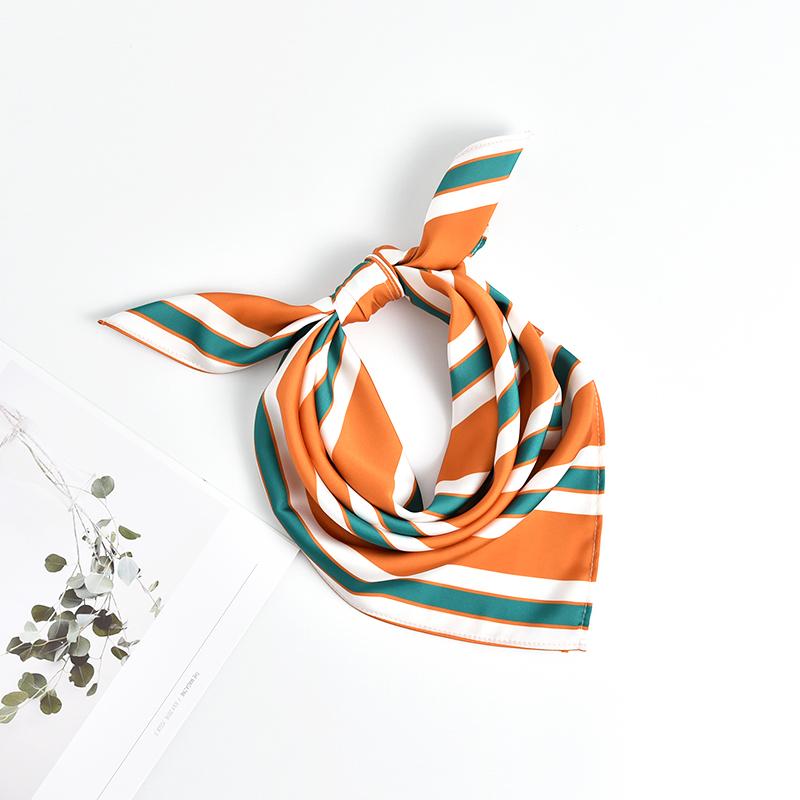 小方巾女丝巾职业空姐银行装饰小领巾礼盒装春秋夏季条纹时尚百搭