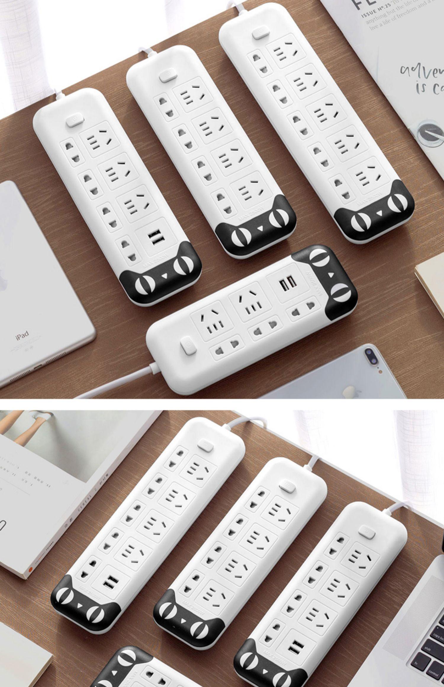 爬墙插线板多功能排插排带线USB插座面板多孔办公拖线板宿舍家用商品详情图